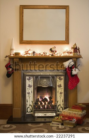 Victorian style fireplace ready for Christmas