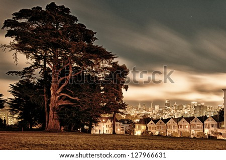 Victorian style houses on the Steiner Street with skylines in the background, Alamo Square Park, Alamo Square, San Francisco, California, USA