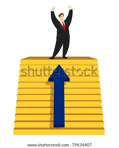 Victorious businessman standing on top of stairs.