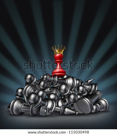 Victory and the winner as a success concept with a red chess pawn with a gold crown on top of a mountain of defeated competitors lying down against a black background with a star burst light.