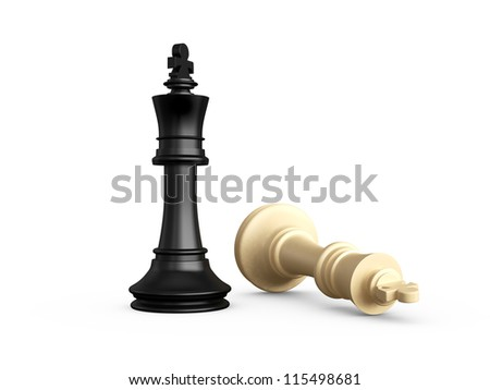 Victory, dark pawn defeats light chess piece, pawn, isolated on white background.