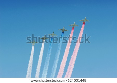 Victory day in Moscow. Airshow.
