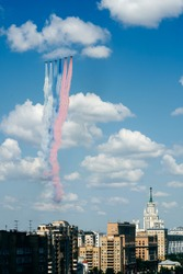 victory day parade in Moscow planes in the sky