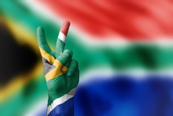 victory for Republic of South Africa with national flag in the background
