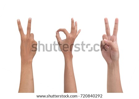 victory hand sign and ok hand sign #720840292