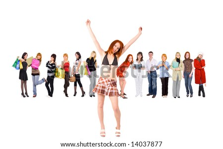 "victory is ours -  of  ""Groups of people"" series in my portfolio - stock photo"