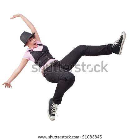 Victory jump of happy free teen woman over white
