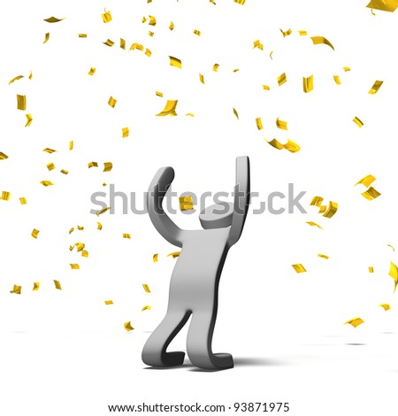 Victory Pose Person With Gold Confetti