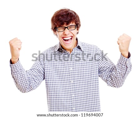 Victory screaming and laughing fan in black glasses. Isolated on white background, mask included