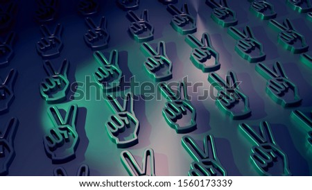 Victory sign. Peace icons. Hand gestures on a metallic wall. Polished surface. Background pattern. Signs and symbols. Colorful (green) beams. Symbolism for a peaceful protest. 3D rendering.