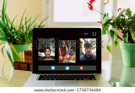Video call at home with friends