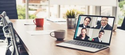 Video call business people meeting on virtual workplace or remote office. Telework conference call using smart video technology to communicate colleague in professional corporate business.