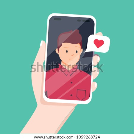 Video call with loved one. Female hand holding smartphone with boyfriend on screen. Online dating, long distance relationship concept. Flat cartoon illustration. Couple talking in messenger