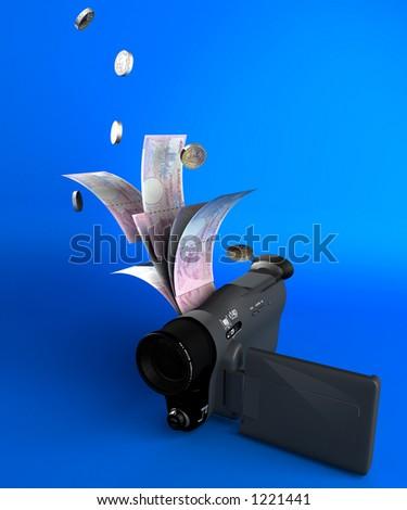 video camera money - stock photo
