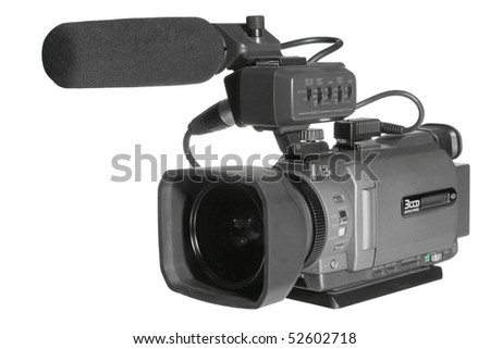 Video camera on a white