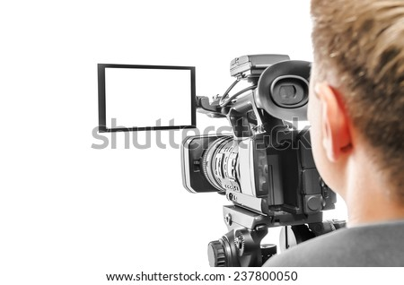 Video camera operator isolated on white background. Focus on screen. #237800050