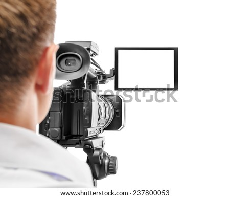 Video camera operator isolated on white background. Focus on screen. #237800053