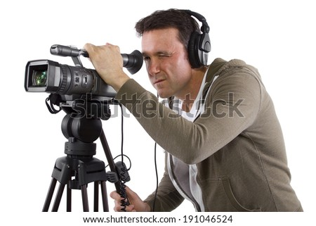 video camera operator with tripod on white background #191046524
