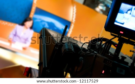 Video camera viewfinder - recording in TV news studio - Talking To The Camera