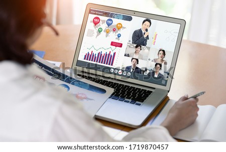 Video conference concept. Teleconference. Telemeeting. Webinar. Online seminar. e-Learning.