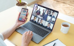 Video conference concept. Teleconference. Video chat.