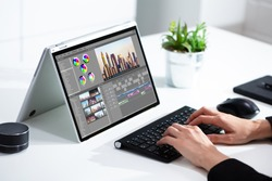 Video Editor Or Designer Using Editing Software Tech On Computer