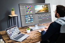 Video Editor Using Edit Software For Editing
