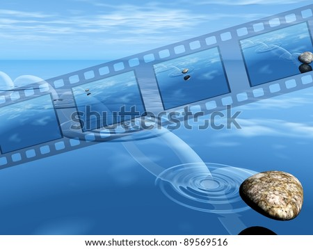 video film of a stone on water