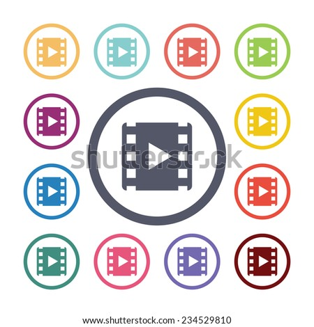 video flat icons set. Open round colorful buttons
