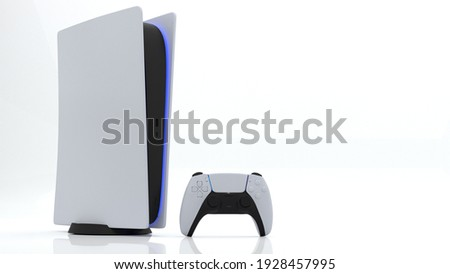 Video game console and new generation Joystick video game controller, futuristic wireless technology on white background. 3d rendering.