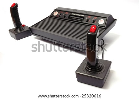 video game console on white background