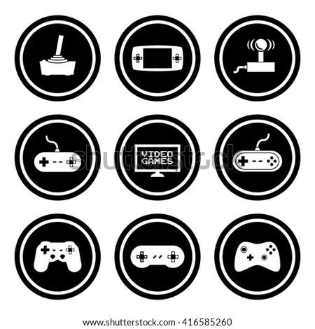 Video Games Icon Set.  Raster Version