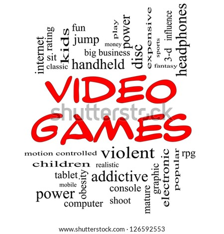 Video Games Word Cloud Concept in Red Caps with great terms such as addictive, violent, children, play, rating, fun and more.