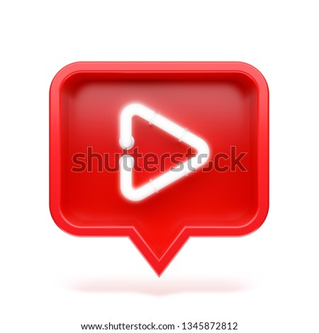 Video icon on a red pin isolated on white background. Neon symbol. 3d render