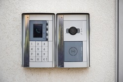 Video intercom at the entry of a building in Grahame Park Estate, London