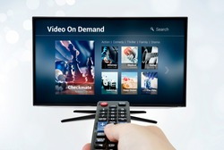 Video on demand VOD application or service on smart TV. Television multimedia stream internet concept