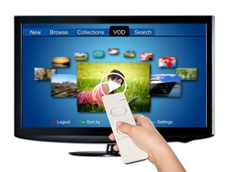 Video on demand VOD service on TV, television concept.  All Texts, Icons, TV Interfaces where created from scratch by myself.
