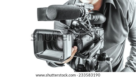 Video operator isolated on a white background