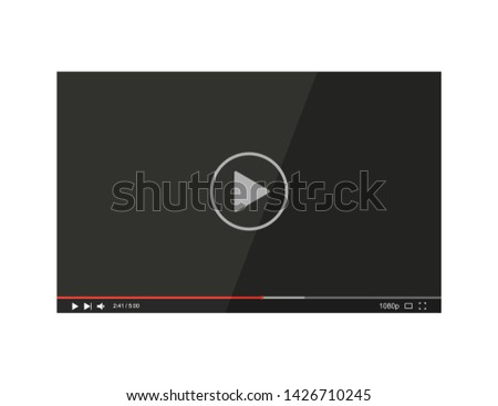 Video player bar. Player video in flat style on a white background