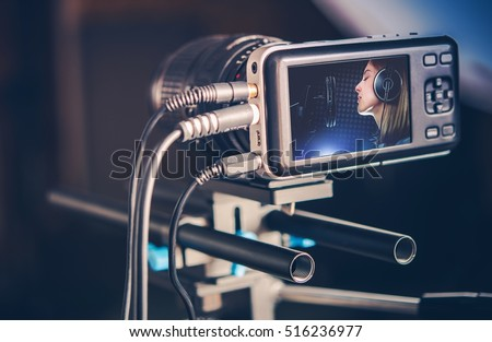 Video Recording Production. Making Music Video Clip. Recording Singing Woman Сток-фото ©