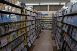 video rental store shelf bokeh