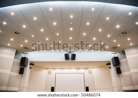 Video screen and an audio system for viewing of presentations