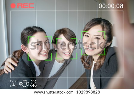 Video selfie. Facial recognition system of video camera. Interface of mobile camera app.