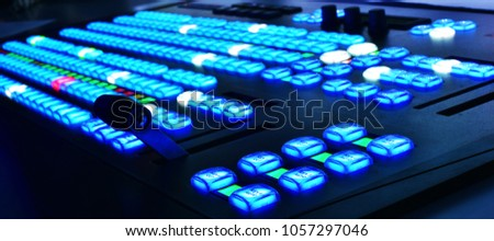 Video switcher with color buttons. selective focus on buttons.  Stok fotoğraf ©