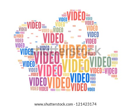 video text collage Composed in the shape of film camera an isolated on white