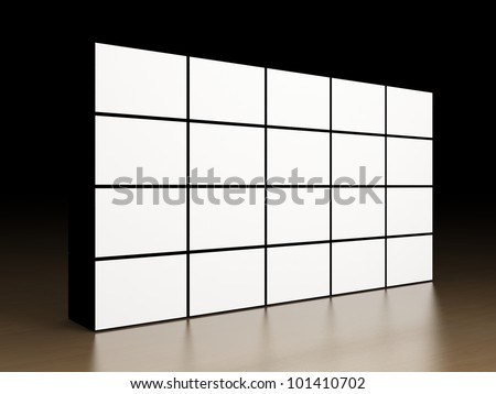 Video wall on wooden surface