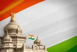 Vidhana soudha bangalore with india flag background and flag flying high, Bengaluru