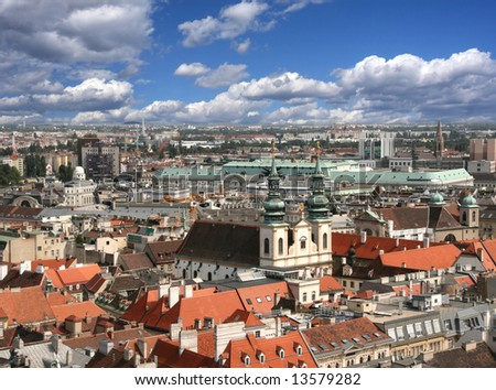 Vienna aerial view - University Church, Dominican Church and Regierungsgebäude are visible