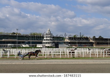 VIENNA, APRIL 9: Trotter training at Krieau Race Track, a horse racing track in Vienna, Leopoldstadt district, April 9, 2014. Opened in 1878, it is the second oldest harness racing track in Europe.