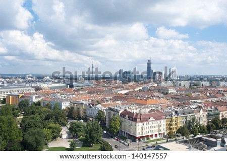 Vienna, Austria - aerial view of the Old Town, a UNESCO World Heritage Site and Donau city in the distance from Prater amusement park.